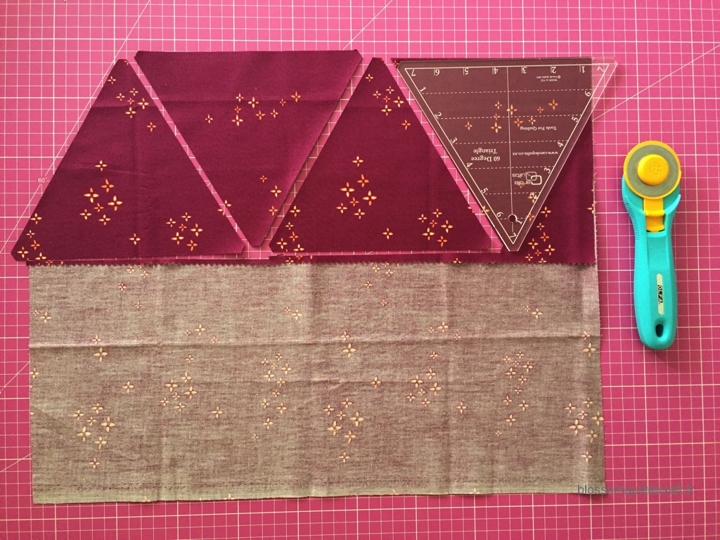 découpe de triangles pour patchwork