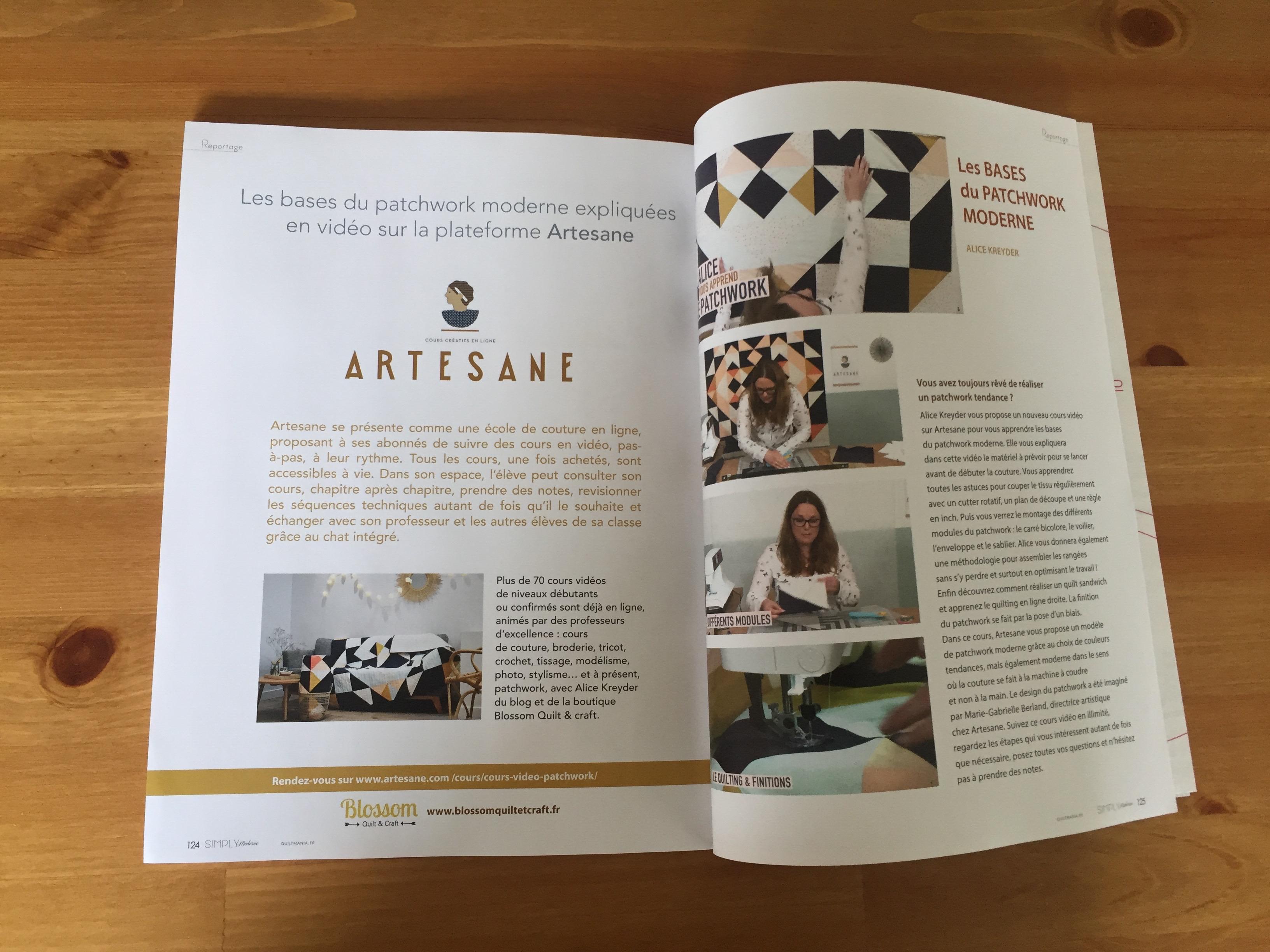 atelier de patchwork moderne chez Artesane dans Quiltmania