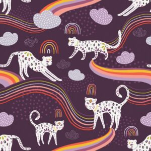 KUShukuru art gallery fabrics - Rainbow Jaguar